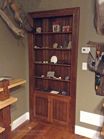 Turn an unused doorway into practical display and storage space! Reclaimed barn wood doorway shelving, handcrafted in the heart of Amish country, Lancaster County, Pennsylvania © 2017 E. Braun Farm Tables and Furniture, Inc.