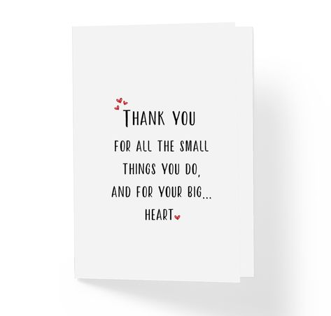 Love and Friendship Thank You Card Thanks For All The Small Things You
