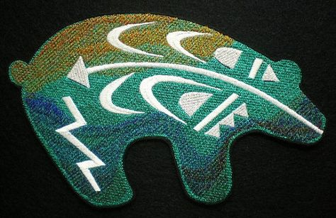 Extra large embroidered iron on applique patch southwestern bear