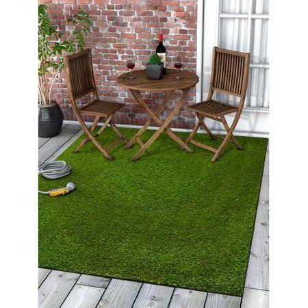 Well Woven Arcadia Grass Modern Solid Plain Green Indoor Outdoor Non Slip 3 11 X 5 3 Area Rug Walmart Com Artificial Grass Rug Grass Carpet Outdoor Carpet