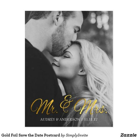 Gold Foil Save the Date Postcard For specific details, such as colors, textures, and text