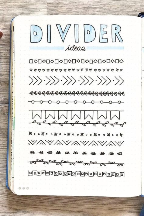 Best Bullet Journal Divider Ideas For 2020 - Crazy Laura Need to break up the different sections of your weekly spreads and need some ideas? Check out these awesome bullet journal dividers for inspiration! Bullet Journal School, Bullet Journal Dividers, Bullet Journal Headers, Bullet Journal Banner, Bullet Journal Notebook, Bullet Journal Ideas Pages, Bullet Journal Inspo, Borders Bullet Journal, Notebook Dividers