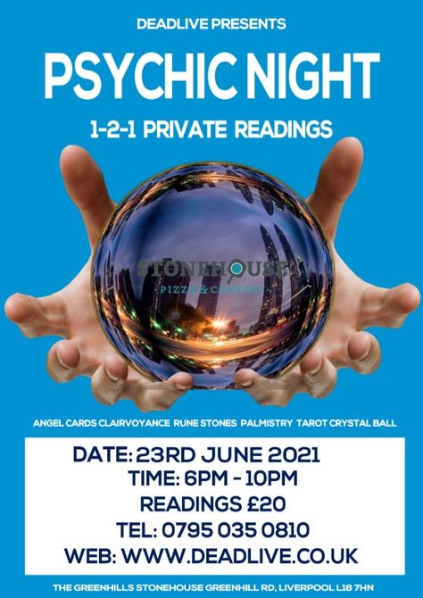 Psychic Night at The Greenhills StoneHouse, Greenhill Road Liverpool. 23rd June 2021 where you can have a 121 reading with our psychics. #afterlife #psychicjames #psychicnight #psychic #spirituality #psychicreading #psychicreadings #psychictarot #psychicreader #angelsreadings #reikimaster #spiritguides #psychicmedium #psychicparties #mediumship #spiritualmedium #psychicadvisor #psychicentertainer #psychicentertainment #tarotreading #psychictherapist #psychicmediums #clairvoyance #healer #clairv