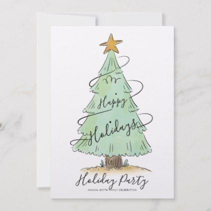 Watercolor Hand Drawn Holiday Party Invitation Zazzle Com
