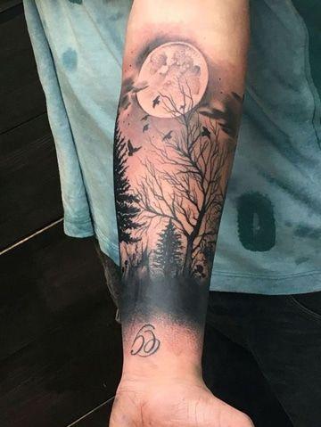 Radiantes Y Originales Tatuajes De Paisajes En El Brazo Tatuaje De Paisaje Bosque Tatuaje Tatuaje De Arbol Para Hombres