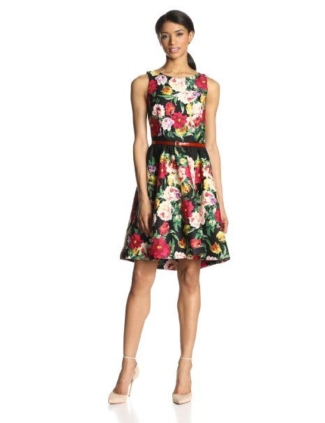 329522e1c073 Gabby Skye Women's Sleeveless Floral Dress with Belt at Amazon Women's  Clothing store