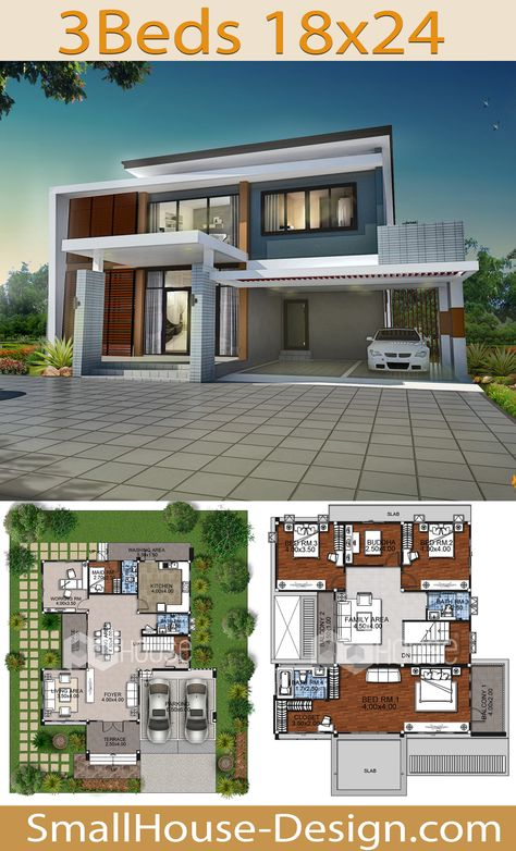 Modern House Design 18x24 with 3 Bedrooms. FIRE HOME SERIES Modern Style Line F-139, 2-story, house 3 bedrooms, 4 bathrooms.  Parking for 2 cars,Usable area 320 square meters, Land area 105 square wah 18 meters wide 24 meters long.