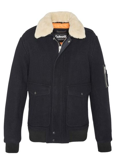 3068cdcc3 New collection WOOL BOMBER JACKET WITH FAUX FUR COLLAR DK NAVY/OFF ...