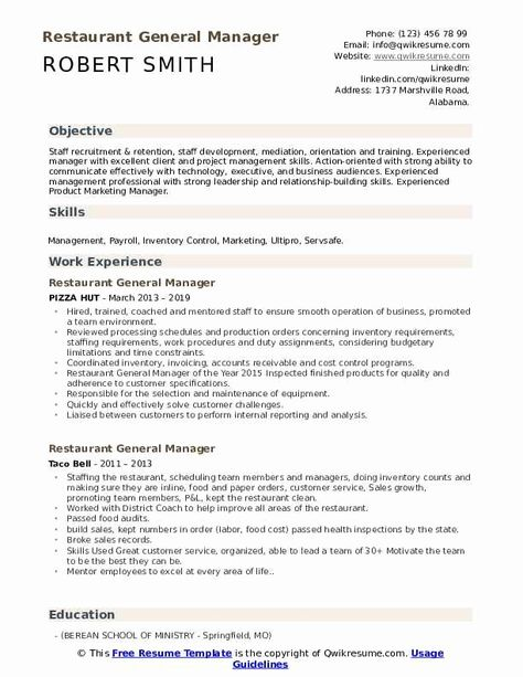 Restaurant Manager Resume Example Beautiful Restaurant General Manager Resume Samples Manager Resume Resume Skills Call Center