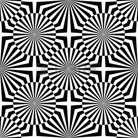 Abstract Vector Seamless Op Art Pattern Monochrome Graphic Black