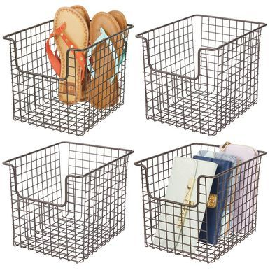 Mdesign Closet Storage Organizer Basket Metal Wire 10 X 8 X 7 75 Pack Of 2 Storage Baskets Organizing Bins Wire Storage