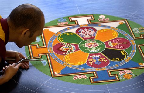 Sand mandala. Created and then destroyed.