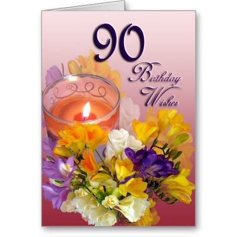 Freesias 90th Birthday Wishes Greeting Card