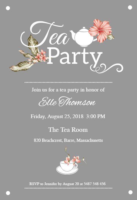 Bridal Shower Tea Party - Bridal Shower Invitation Template (Free) | Greetings Island