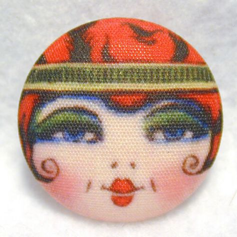 """1920s Flapper Girl Button Hnd Printed Fabric /""""Bluebell/"""""""