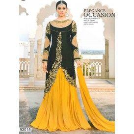 لباس هندی مجلسی مخملی 2018 Lehenga Suit Party Wear Lehenga Yellow Lehenga