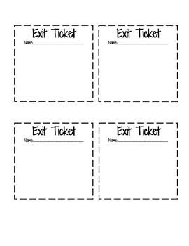 Blank Exit Ticket Template For All Grades Exit Tickets Exit