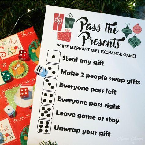 Pass the Presents White Elephant Gift Exchange Game FREE PRINTABLE | Mama Cheaps