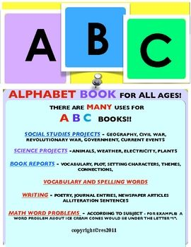 Teachers often think that ABC books are only for primary grades. I've successfully used ABC templates with middle school students for...