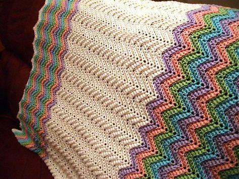 Ravelry: Rickrack Rainbow Baby Blanket by Red Heart Design Team... Free pattern!