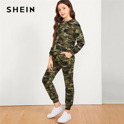 (Sponsored)eBay - SHEIN Kiddie Camouflage Print Pullover And Pants Girls Suit Set Kids 2019
