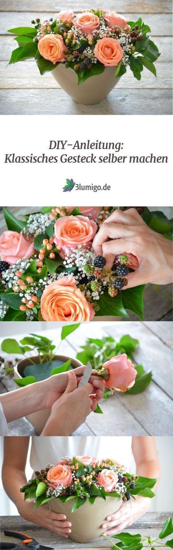 Tischdekoration Selber Machen Ein Klassisches Tischgesteck In Zarten Apricot Tonen Deko Ideen Tischdeko Selber Machen Selber Machen Gestecke