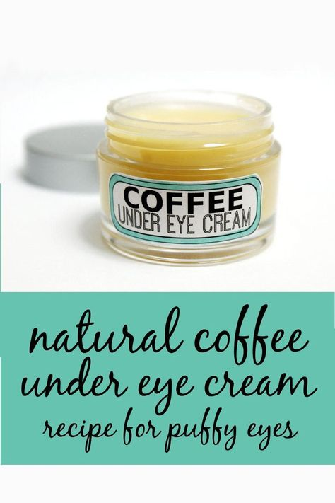 Homemade coffee under eye cream recipe for puffy eyes and anti-aging skin care . This homemade natural coffee under eye cream recipe is made using homemade coffee infused oil to help with those dark under eye circles, puffiness and even fine lines. Homemade Skin Care, Homemade Beauty Products, Diy Skin Care, Homemade Eye Cream, Homemade Facials, Natural Eye Cream, Natural Skin Care, Organic Eye Cream, Natural Coffee
