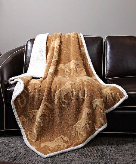 Duke Imports Inc Tan Horse Sherpa Throw Zulily Sherpa Throw Blankets Throw Blanket Blanket