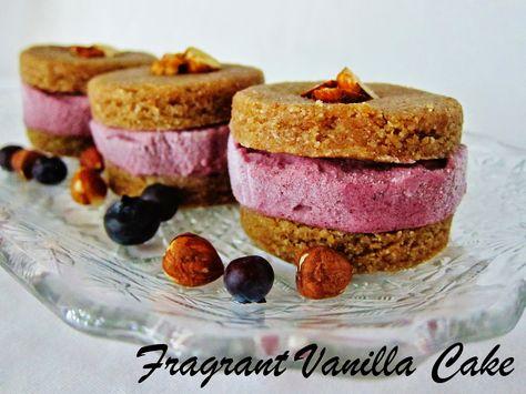Fragrant Vanilla Cake: Raw Hazelnut Butter Cookie Ice Cream Sandwiches with Blueberry Rhubarb Ice Cream