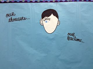 """From these written reflections, I am asking students to participate in a group """"graffiti wall"""" of sorts.  If they have a reaction, a theory, an explanation, or some other thought of significance, they can come write it on a speech bubble and place it on our Wonderboard.  We can then use those discussion points to deepen our understanding of the text."""