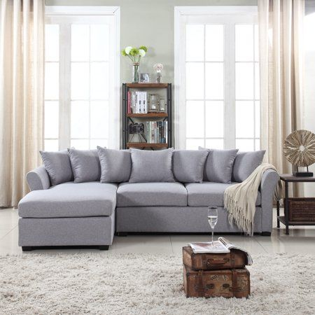 Modern Large Linen Sectional Sofa With Extra Wide Chaise Lounge Walmart Com Fabric Sectional Sofas Sectional Sofas Living Room Sectional Sofa