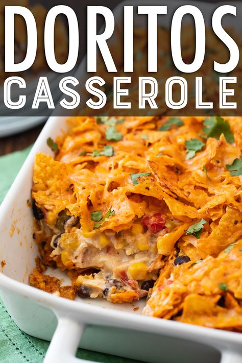 This amazing Doritos Chicken Casserole is the perfect easy dinner for busy weeknights. This is SO good it's addictive! This amazing Doritos Chicken Casserole is the perfect easy dinner for busy weeknights. This is SO good it's addictive! Easy Casserole Recipes, Fun Easy Recipes, Healthy Recipes, Doritos Chicken Casserole, Hamburger Casserole, Cowboy Casserole, Simple Easy Dinner Recipes, Good Recipes For Dinner, Mexican Dinner Recipes