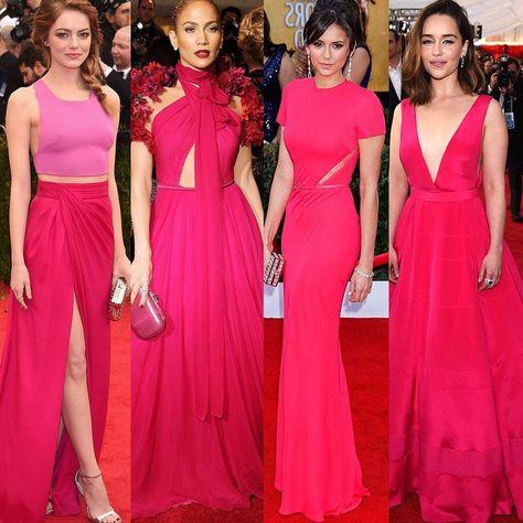 Choose your favorite #fuchsia Dress! 1,2,3 or 4? . 💗Follow @fashiongirl.insta for everyday fashion inspiration💗 . 1- #emmastone 2- #jlo 3-…