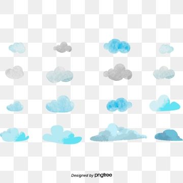 Sky Blue Watery Clouds Png And Vector Watercolor Clouds Graphic Design Background Templates Clouds
