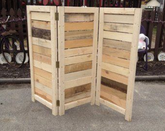 Handmade Primitive Room Divider Movable Wall Screen Made From Antique Looking Wood 5 10 Tall With Three Panels Beautiful Movable Walls Room Divider Diy Privacy Screen