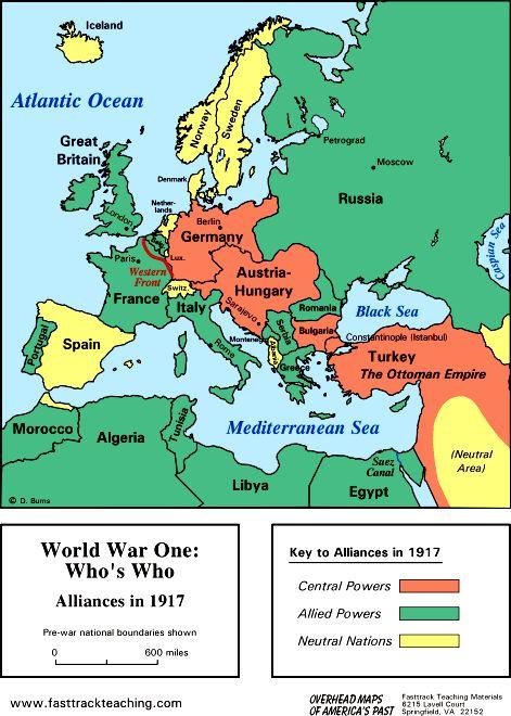 World War I Alliances In WWI WorldWarI CentralPowers - 1917 1918 us in europe battles map