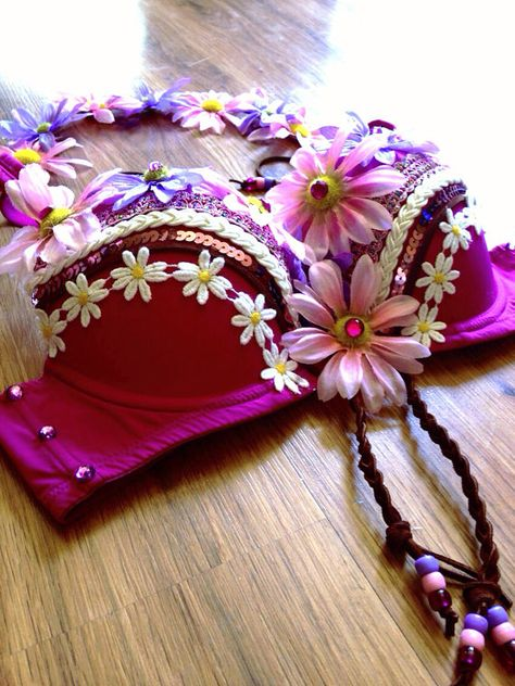 Pink Daisy Bra with matching Flower Halo by Electric Princess, $65.00