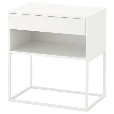 Vikhammer Nachtkastje Zwart 40x39 Cm Ikea In 2020 White Nightstand White Bedside Table Ikea
