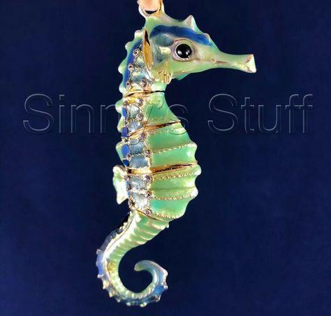 coastal Seahorse NWT Set of 2 Sea life Christmas ornaments beach Lobster