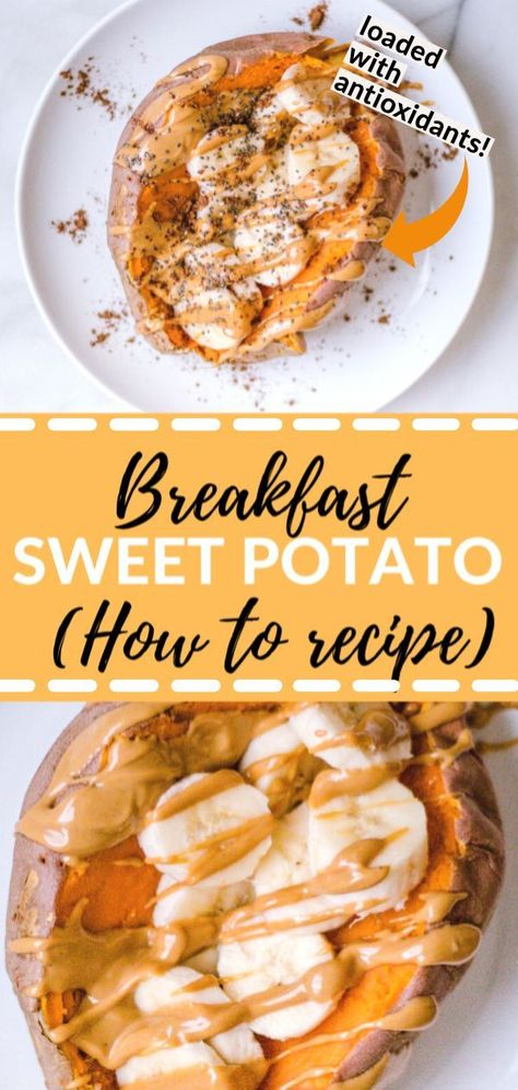 Learn step by step how to make a breakfast sweet potato! High in protein, plant-based, vegetarian, gluten free and SO dang good! # breakfast potatoes How To Make A Breakfast Sweet Potato - Kroll's Korner Sweet Potato Breakfast, Free Breakfast, Breakfast With Protein, Breakfast Potatoes, Morning Breakfast, Vegetarian Breakfast Recipes, Vegetarian Sweets, How To Vegetarian, High Protein Vegetarian Breakfast