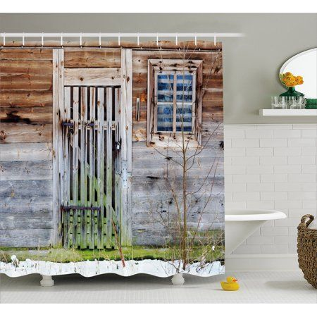 Primitive Country Decor Shower Curtain Neglected Old Farmhouse Rustic Wooden Door And Primitive Decorating Country Primitive Bathrooms Country Farmhouse Decor