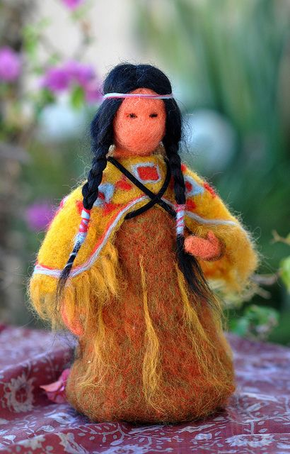 Needle felted Indian woman