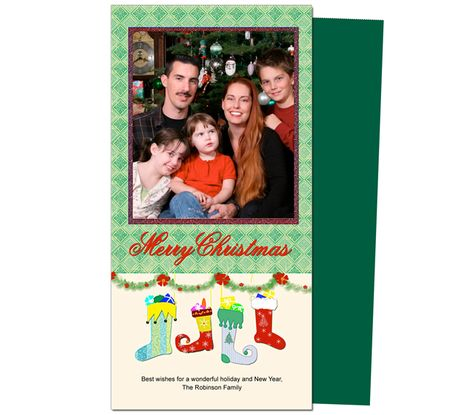 Photo Cards : Stockings Christmas Holiday Photo Card Template