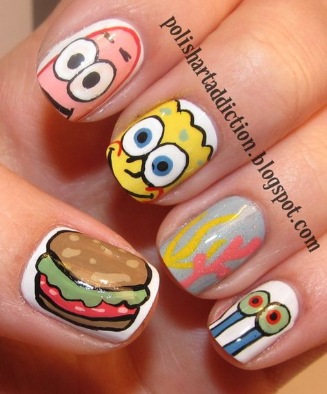 (spongebob,spongebob squarepants,patrick star,nails,nail polish) Drumright-kuk My daughter loves this.