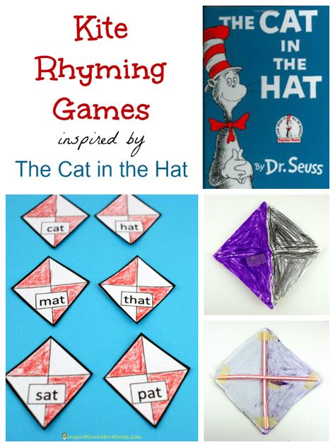 This month's Virtual Book Club for Kids is featuring Dr. Seuss. We are doing some kite rhyming with The Cat in the Hat. Download the free kite words.