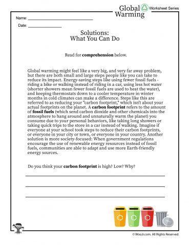 Global Warming Solutions Printable Reading Worksheet Dengan Gambar