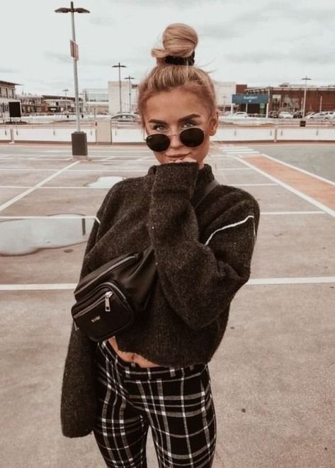 plaid pants black sweater casual fall outfit winter outfit style outfit inspiration millennial fashion street style boho vintage grunge ca