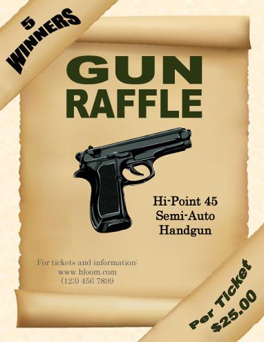 Gun Raffle Flyer Template | Raffle Flyer And Ticket Templates