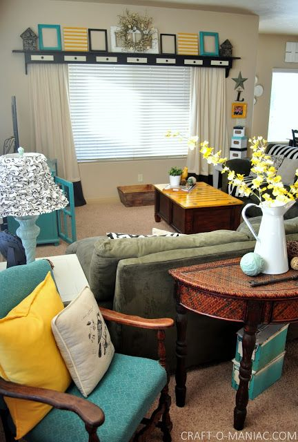 Home Decor~ My Turquoise and Yellow Family Room   Turquoise ...