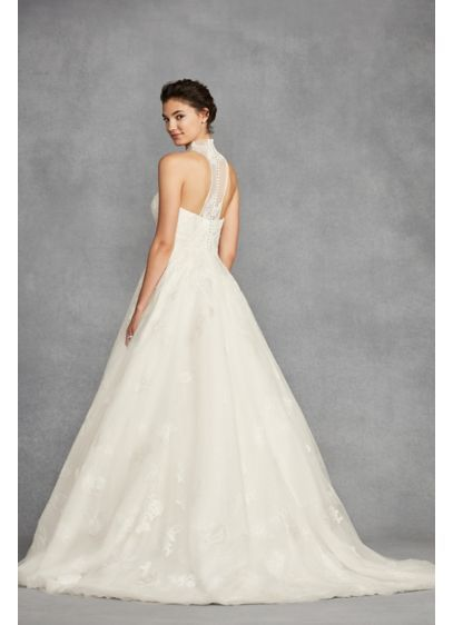 White By Vera Wang Illusion Floral Wedding Dress David S Bridal Davids Bridal Wedding Dresses Floral Wedding Dress Illusion Wedding Dress